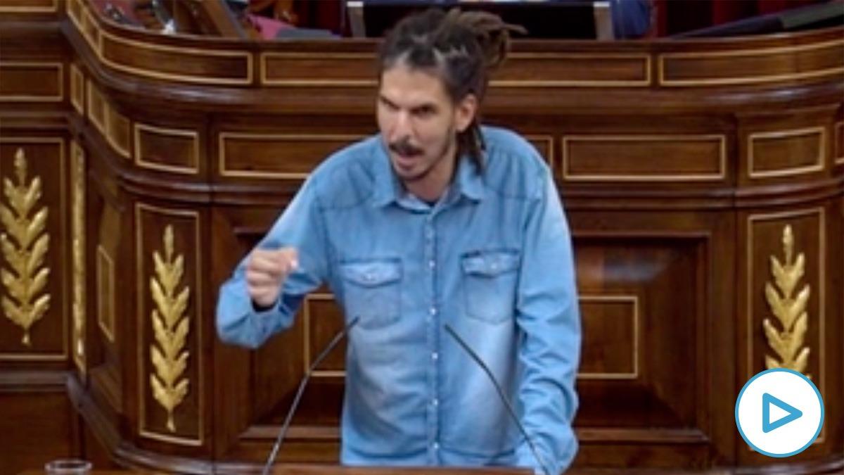 El diputado de Unidas Podemos Alberto Rodríguez, imputado por el Supremo, este martes en el Congreso.