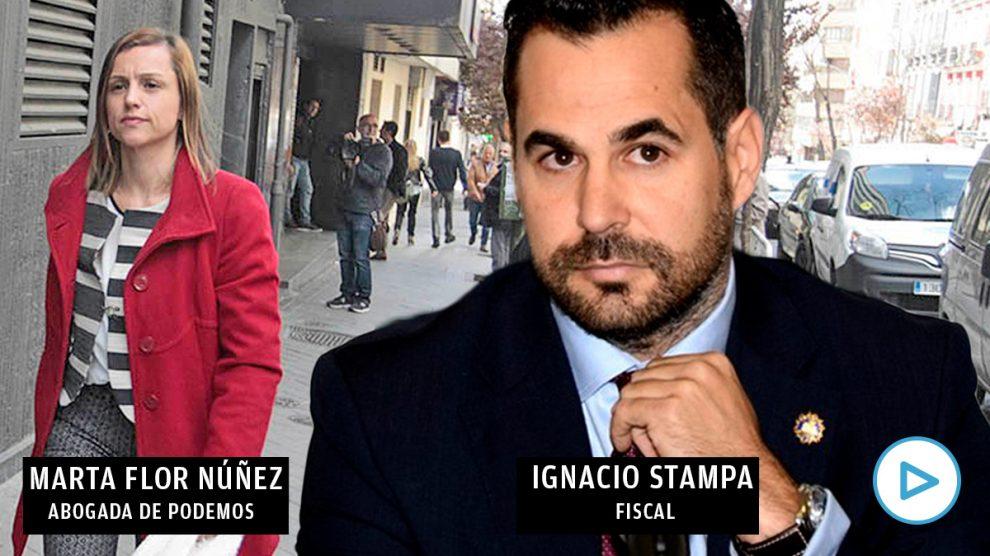 El fiscal Ignacio Stampa y Marta Flor Núñez, abogada de Podemos.
