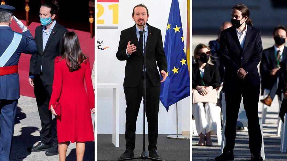 Pablo Iglesias sin corbata saludando al Rey en el acto oficial del 12 de octubre (izquierda). Pablo Iglesias este martes en la presentación del Anteproyecto de los presupuestos (centro). El vicepresidente segundo durante el acto civil de homenaje a las víctimas del coronavirus (derecha).
