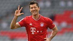 Lewandowski celebra un gol con el Bayern de Múnich en la Bundesliga (AFP)