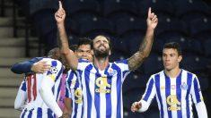 Sergio Oliveira celebra su gol ante el Olympiacos en Champions. (AFP)