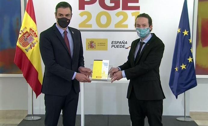 Sánchez e Iglesias, durante la presentación del proyecto de Presupuestos 2021
