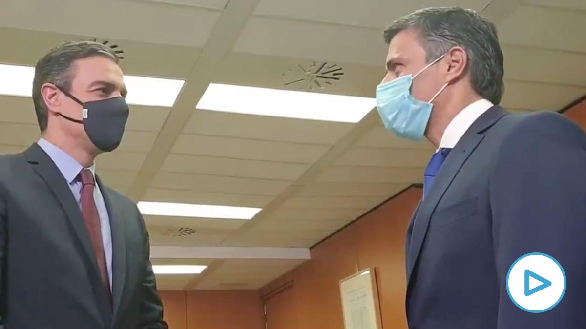 Pedro Sánchez con Leopoldo López en Ferraz.