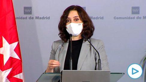 Isabel Díaz Ayuso en la comparecencia junto a García-Page y Fernández Mañueco.