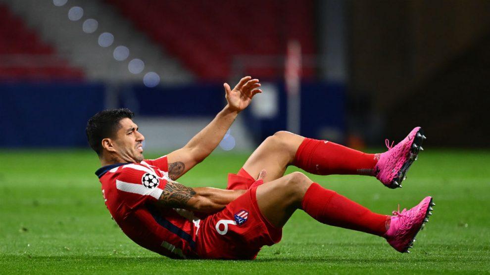 Luis Suárez, durante el encuentro ante el RB Salzburgo. (AFP)