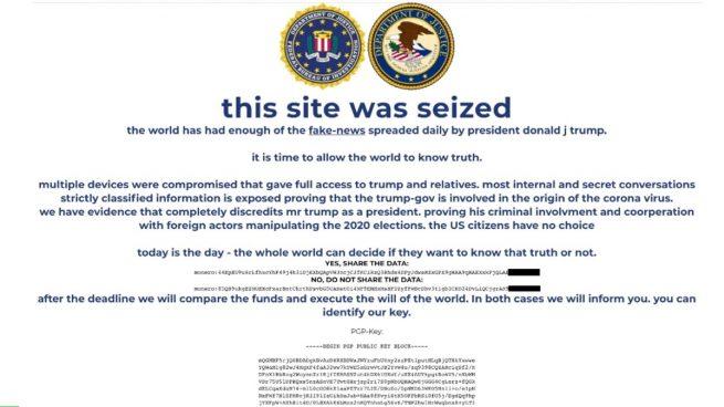 La web de Donald Trump hackeada.