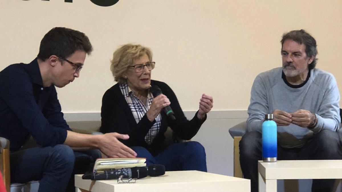 Txema Urkijo haciendo campaña por Más País con Íñigo Errejón y Manuela Carmena (Foto: MM)