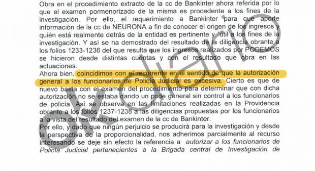 """Fiscalía se queja de que la autorización general de la Policía para investigar a Podemos es """"excesiva""""."""