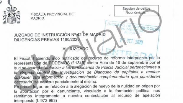 Escrito de la Fiscalía presentado al juez para que limite las investigaciones de la Policía en la causa de Podemos.