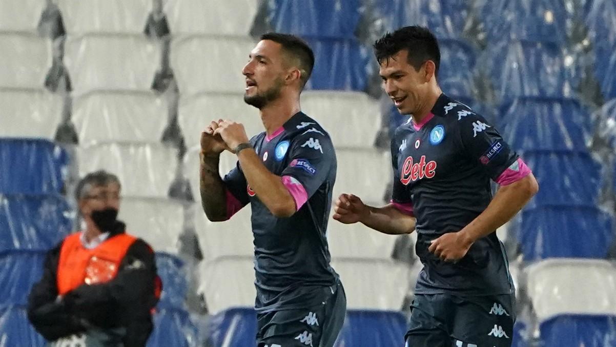 Politano celebra el tanto del Nápoles frente a la Real Sociedad. (AFP)