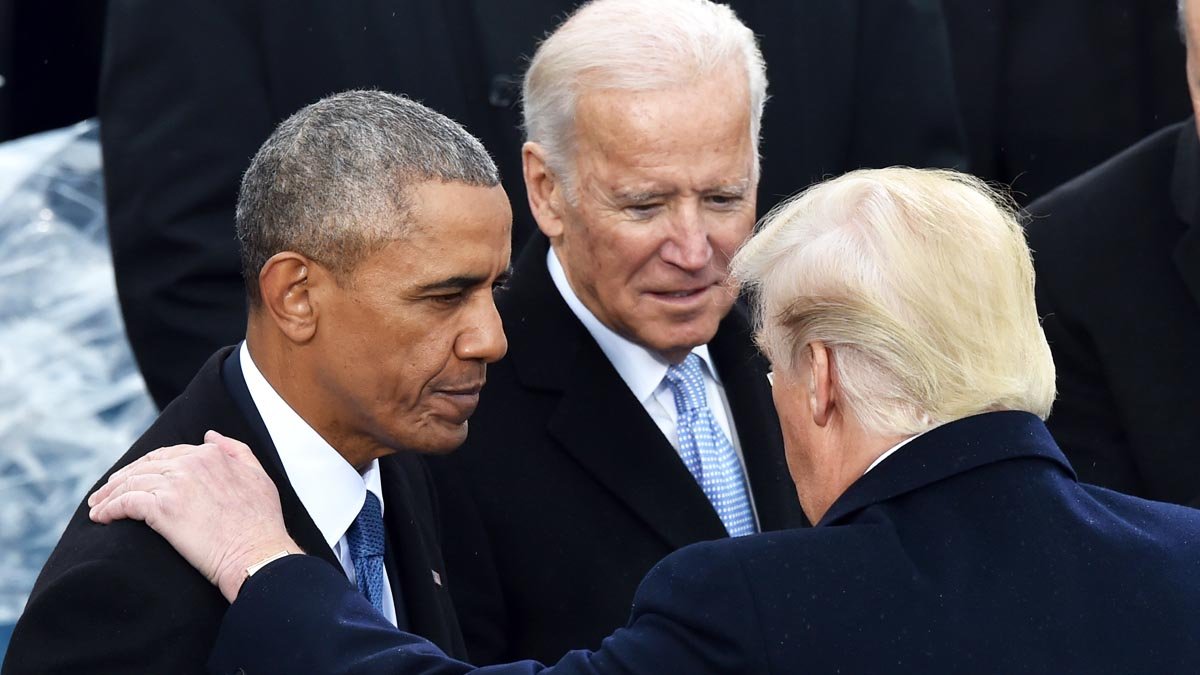 Barack Obama, Joe Biden y Donald Trump (Foto: AFP)
