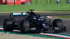 Lewis Hamilton durante el Gran Premio de Emilia-Romaña. (AFP