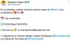 La Embajada de España en Londres promociona en las redes un acto de propaganda de Podemos