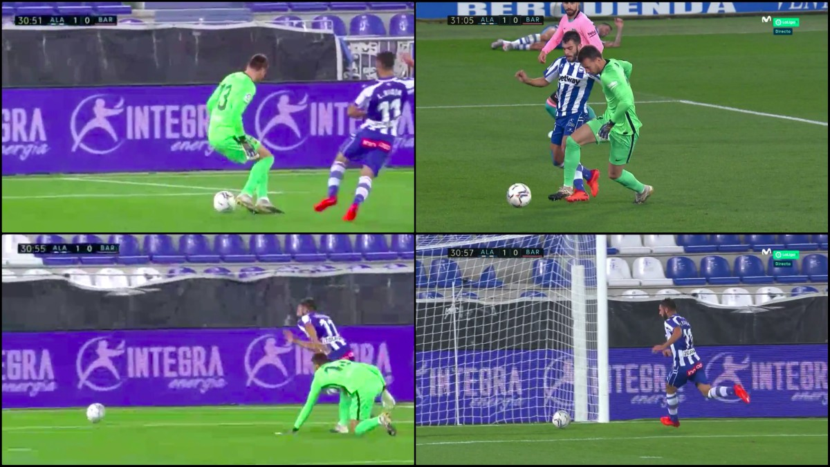 Un fallo de Neto provocó el primer gol del Alavés. (Captura de pantalla)