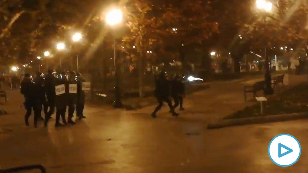 Disturbios violentos en el centro de Logroño.