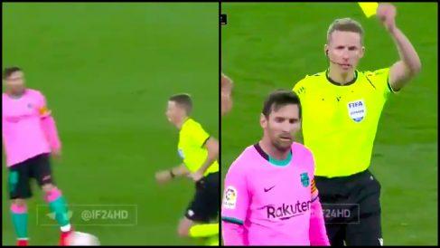 El pelotazo de Messi a Hernández Hernández.