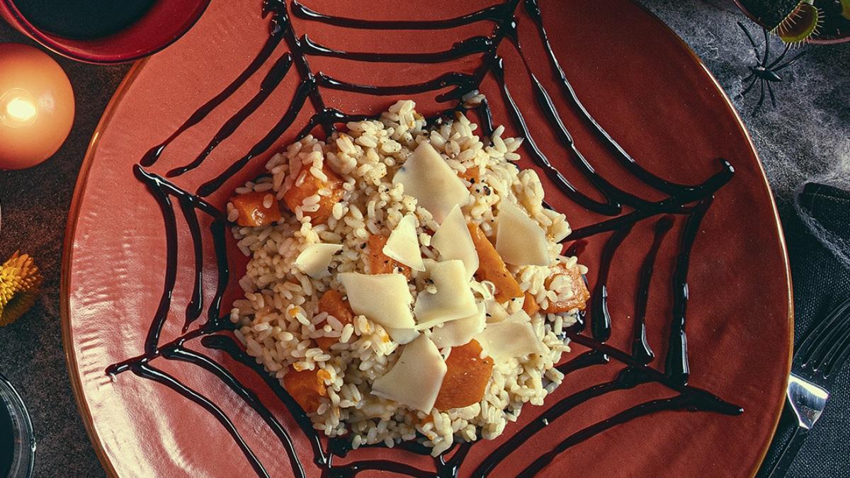 Risotto de calabaza con queso suizo y vinagre balsámico