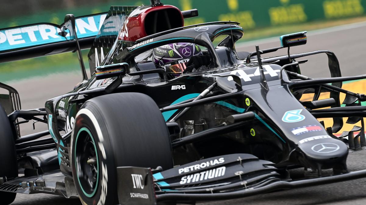 Lewis Hamilton en Imola durante el Gran Premio de Emilia-Romaña. (AFP)