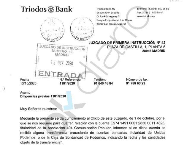 Oficio remitido por el banco Triodos Bank al juez Juan José Escalonilla.