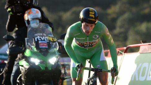 Roglic, en la contrarreloj de la Vuelta. (AFP)