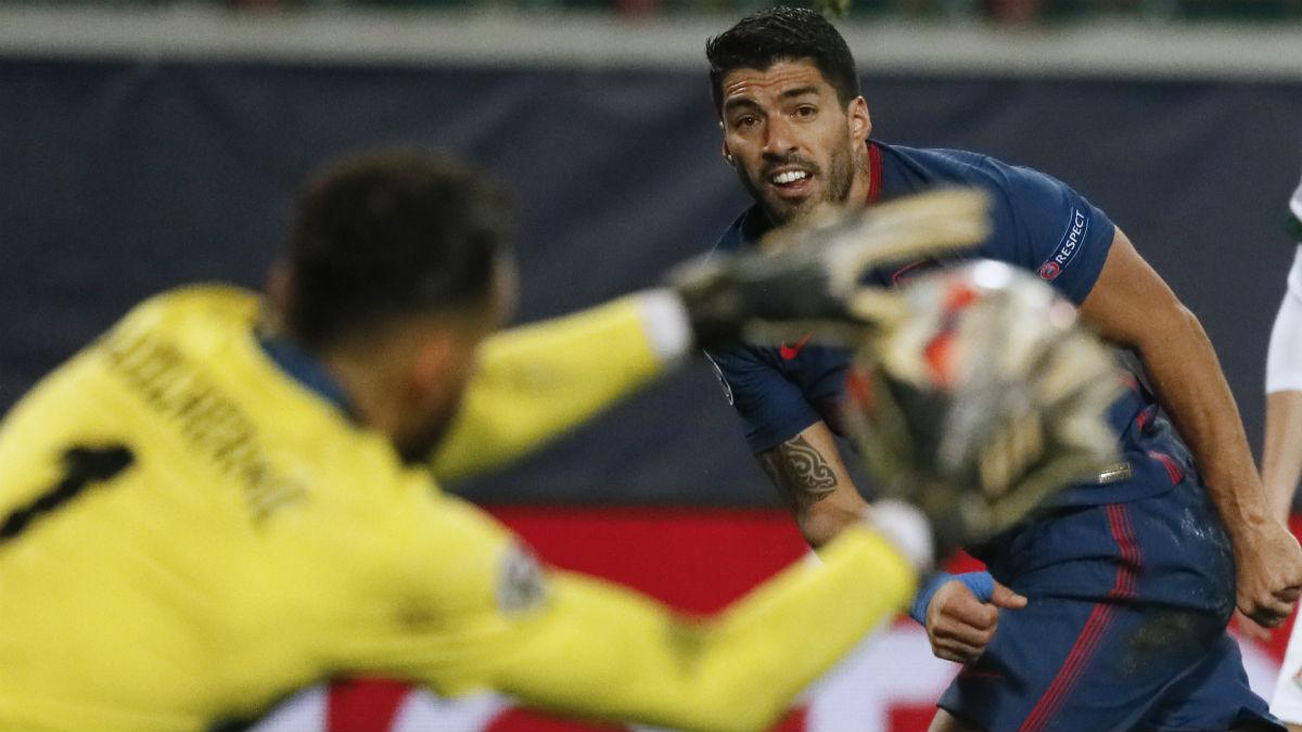 Luis Suárez, en el partido contra el Lokomotiv. (AFP)