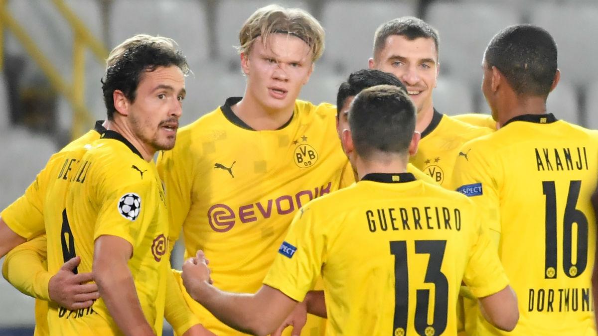 Haaland celebra un gol al Brujas. (AFP)