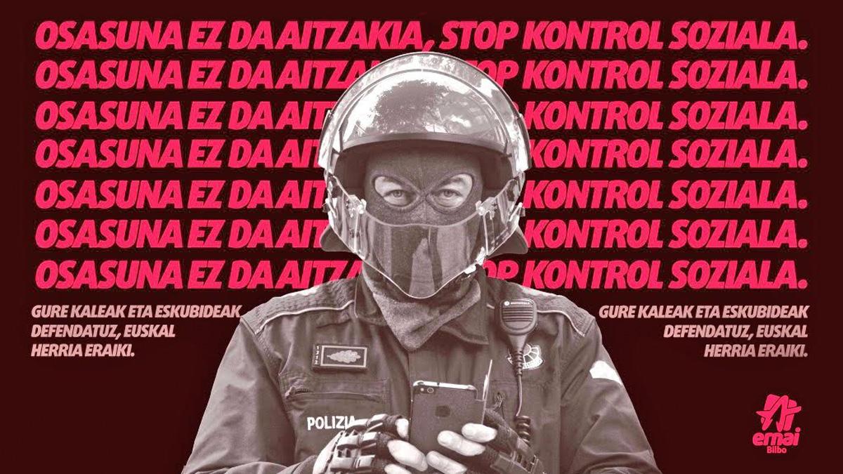 Cartel contra la Ertzaintza.