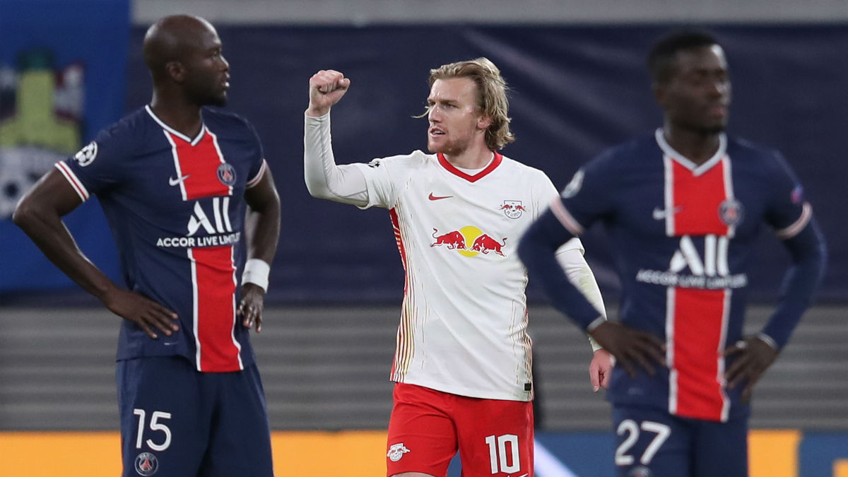 Forsberg celebra su gol al PSG. (AFP)