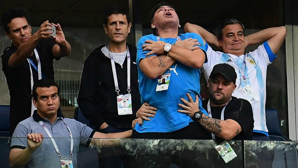 Maradona, en una imagen que se hizo viral en el Mundial de Rusia 2018.
