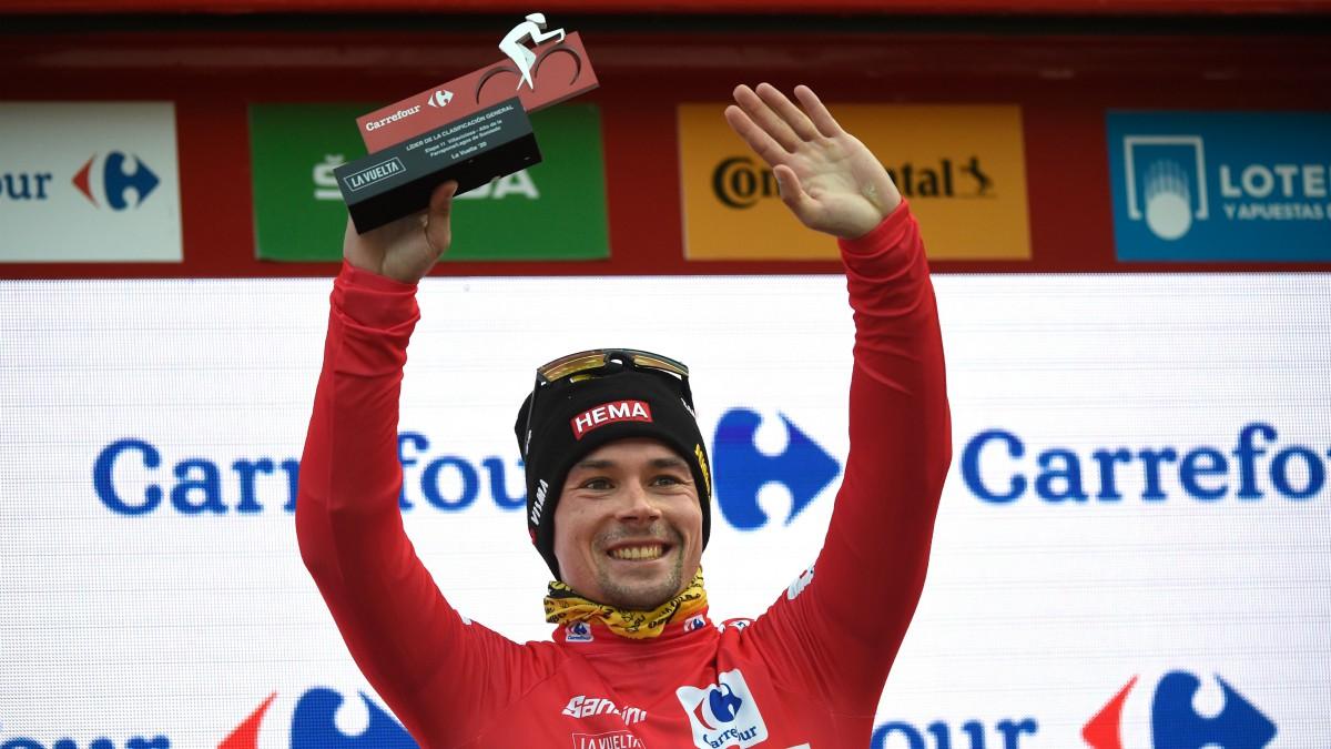 Roglic, con el maillot de líder de la Vuelta a España. (AFP)