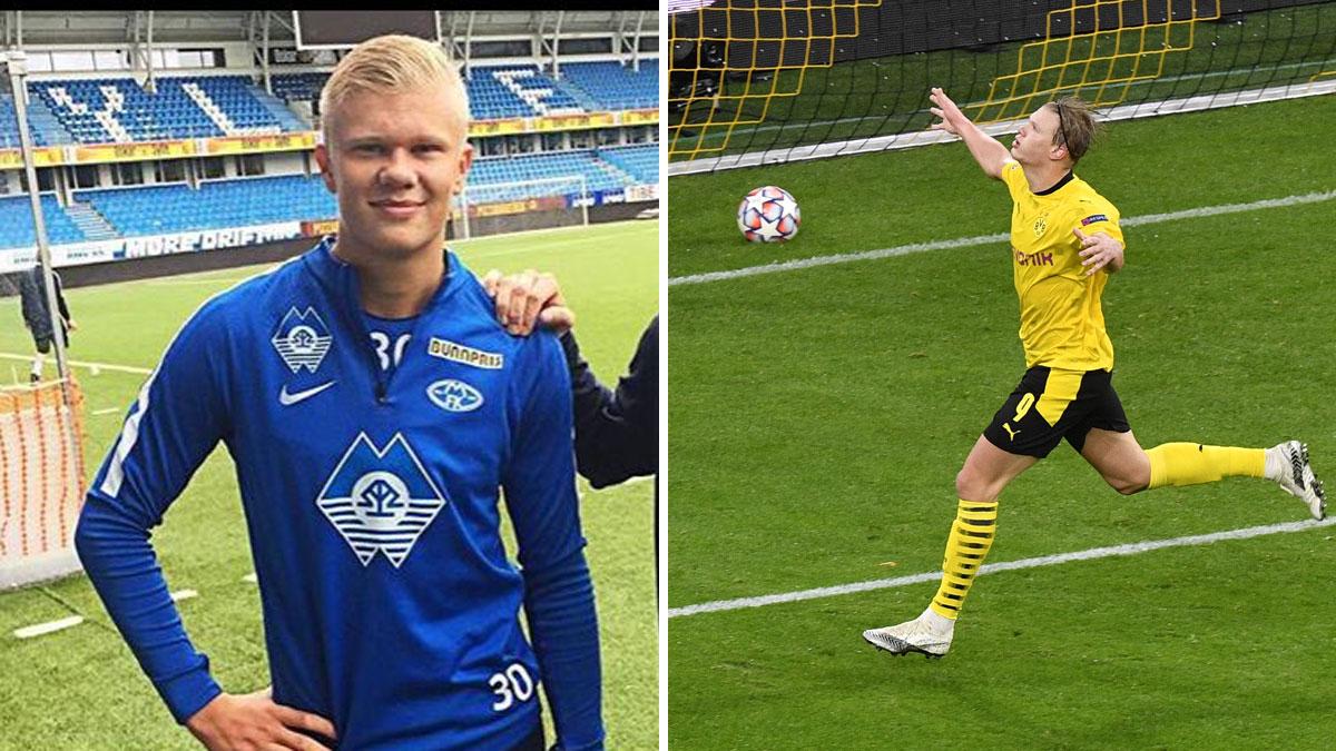 A la izquierda, imagen de Haaland de niño (Instagram); a la derecha, el delantero celebra uno de sus goles en Champions League (AFP)