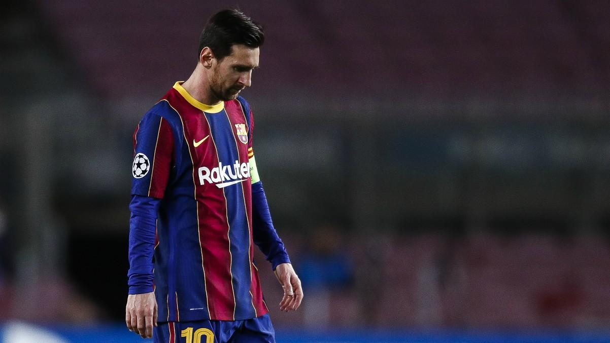 Leo Messi durante un partido de Champions League. (Getty)