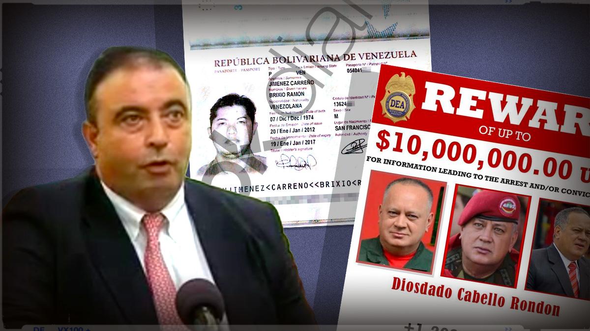 El consejero delegado de Cárnicas Joselito, Juan Luis Gómez, y el cartel con el que el Departamento del tesoro de EEUU ofrece una recompensa de 10 millones de dólares para capturar a Diosdado Cabello.