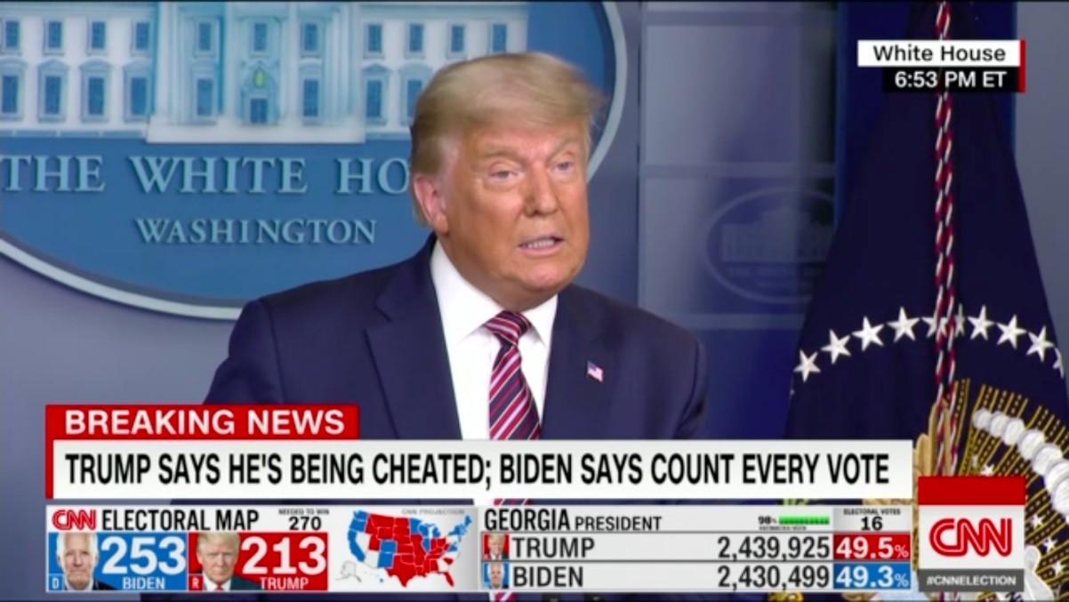 Donald Trump, en una rueda de prensa en la Casa Blanca durante el recuento.