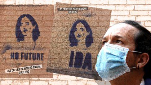 Pintadas contra Isabel Díaz Ayuso jaleadas por Podemos.