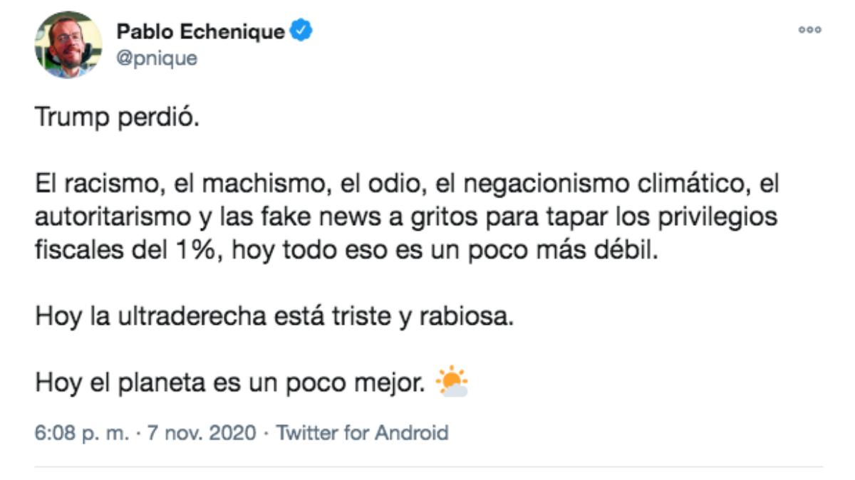 El mensaje publicado por el portavoz de Podemos en el Congreso de los Diputados, Pablo Echenique.