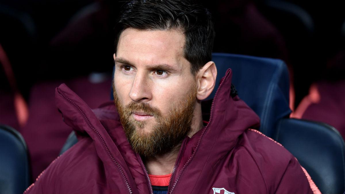 Leo Messi, en el banquillo del Camp Nou. (Getty)