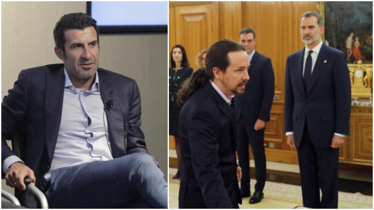 Luis Figo, Pablo Iglesias y el Rey de fondo.