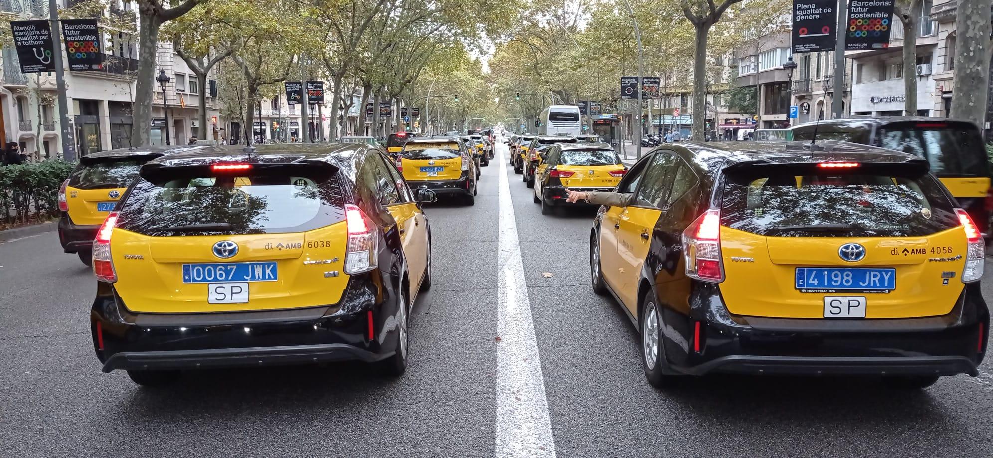 Manifestación de taxis en Barcelona