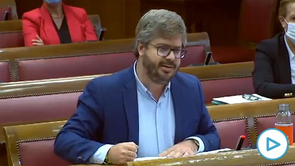 El senador de Cs Fran Hervías en la comparecencia del secretario de Estado de Seguridad en la Cámara alta.
