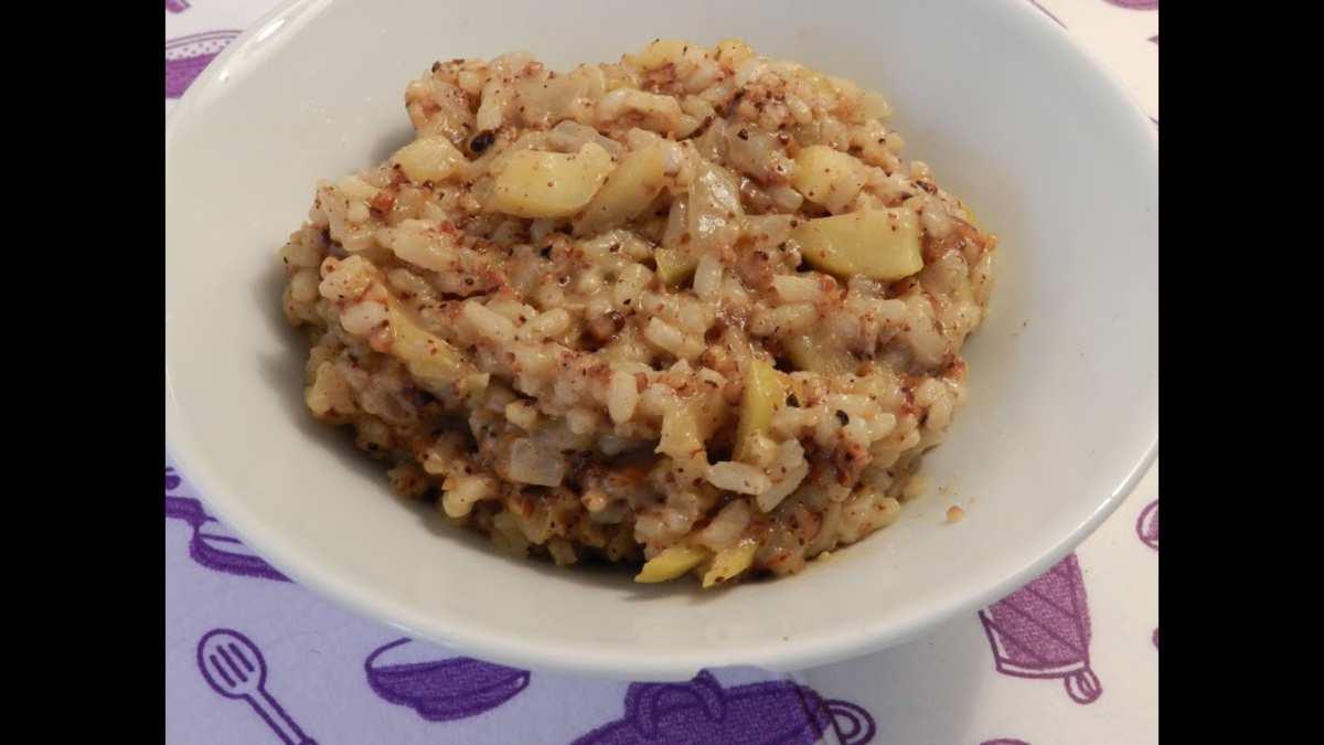 Receta de Risotto meloso de manzana, azafrán y queso de untar