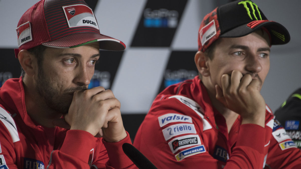 Jorge Lorenzo y Andrea Dovizioso, en su etapa en Ducati. (Getty)