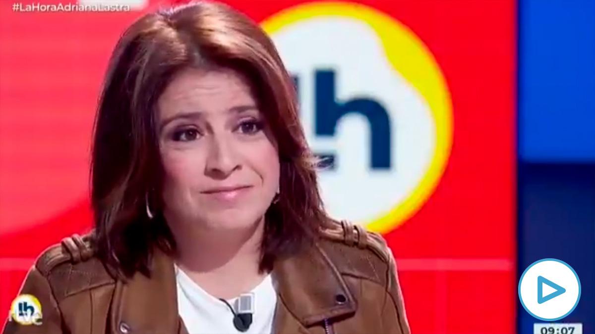 La portavoz del PSOE en el Congreso, Adriana Lastra, este miércoles en una entrevista en TVE. (Fuente: La Hora de la 1)
