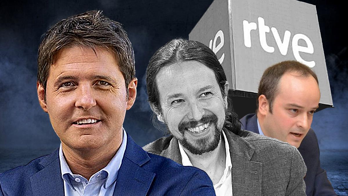 El periodista Jesús Cintora, Pablo Iglesias e Iván Redondo