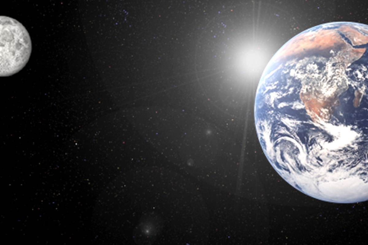 La tierra, salida por la luna