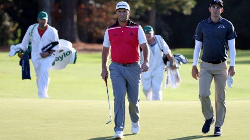 Jon Rahm, en uno de los días de prácticas en Augusta. (Getty)