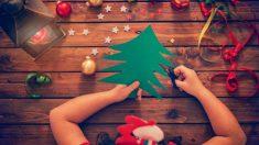 Todos los pasos para hacer un árbol de Navidad con los niños a partir de un libro viejo