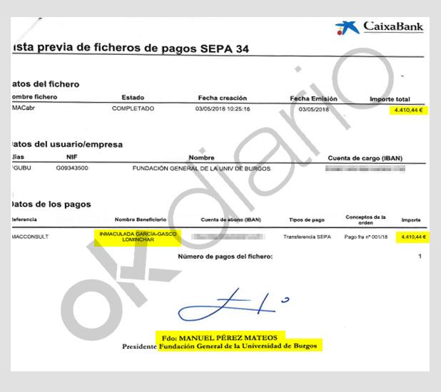Orden de pago a Inmaculada García-Gasco firmada por su pareja, Manuel Pérez Martos, rector de la Universidad de Burgos.