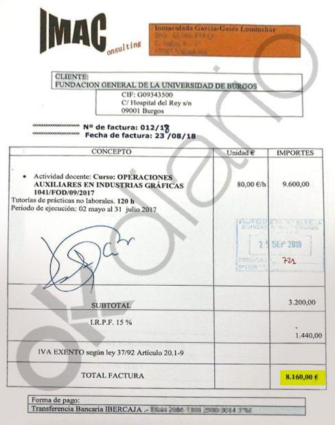 Factura de 8.160 euros que la pareja del rector Manuel Pérez Marcos emitió a la Fundación de la Universidad de Burgos.
