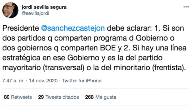 Jordi Sevilla pide a Sánchez que aclare si Podemos es quien dirige la estrategia del Gobierno